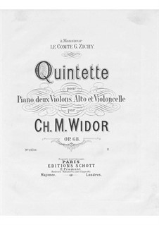 Piano Quintet No.2, Op.68: Full score by Charles-Marie Widor