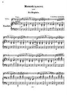 Mazurkas, Op.33: No.2, for violin and piano by Frédéric Chopin