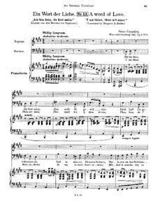 Three Songs for Two Voices, Op.6: No.3 A Word of Love by Peter Cornelius