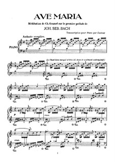 Meditation on Prelude No.1 by Bach: For piano by Charles Gounod