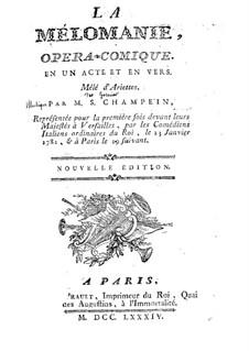 La mélomanie: Libretto by Stanislas Champein