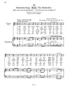 Six Songs, Op.1: No.4 The Butterfly by Peter Cornelius