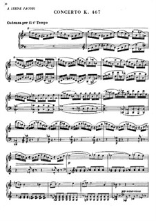 Concerto for Piano and Orchestra No.21 in C Major, K.467: Cadenza by Wolfgang Amadeus Mozart