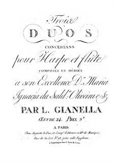 Three Concert Duos for Harp and Flute, Op.24: Three Concert Duos for Harp and Flute by Luigi Gianella