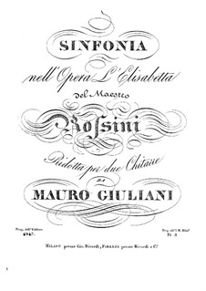 Elizabeth, Queen of England: Overture, for two guitars by Gioacchino Rossini