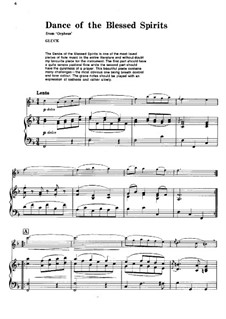 Dance of the Blessed Spirits: For flute and piano by Christoph Willibald Gluck