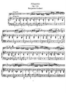 Pieces for Flute and Piano, Op.116: Allegretto – score, solo part by Benjamin Godard