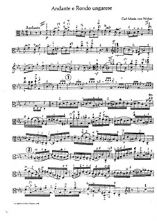 Andante and Hungarian Rondo for Viola and Orchestra, J.79 Op.35: Solo part by Carl Maria von Weber
