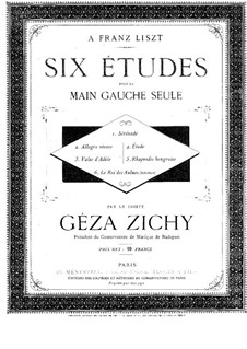 Six Etudes for the Left Hand Alone: For piano by Géza Zichy