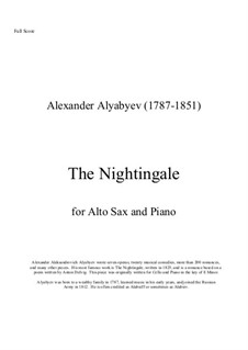 The Nightingale: For alto saxaphone and piano by Alexander Alyabyev