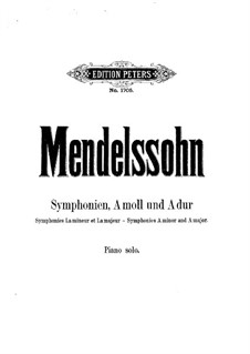 Symphony No.4 in A Major 'Italian', Op.90: For piano by Felix Mendelssohn-Bartholdy