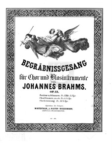 Funeral Hymn for Choir and Winds, Op.13: Funeral Hymn for Choir and Winds by Johannes Brahms