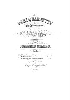 Quartets for Voices and Piano, Op.31: Quartets for Voices and Piano by Johannes Brahms