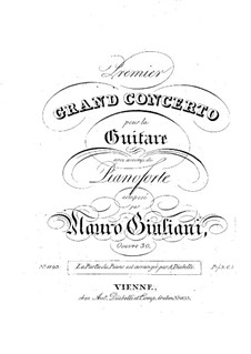 Concerto for Guitar and Orchestra No.1, Op.30: Version for guitar and piano – solo part by Mauro Giuliani