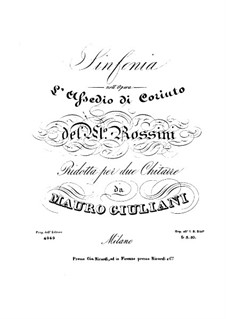 Le siège de Corinthe (The Siege of Corinth): Overture, for two guitars by Gioacchino Rossini
