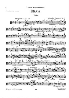 Elegy for Viola and Piano, Op.44: Viola part by Alexander Glazunov