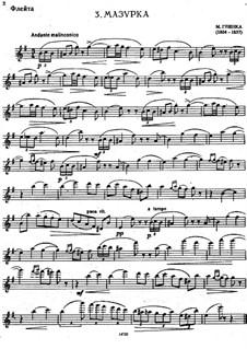 Mazurka for Flute and Piano in E Minor: Solo part by Mikhail Glinka
