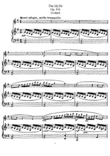 Pieces for Flute and Piano, Op.116: Idyll – score, solo part by Benjamin Godard