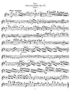 Three Easy Duets for Two Flutes, Op.102: Parts by Jean-Louis Tulou
