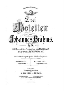 Two Motets, Op.74: Vocal score by Johannes Brahms