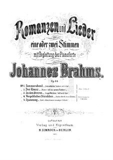 Romances and Songs, Op.84: Complete set by Johannes Brahms