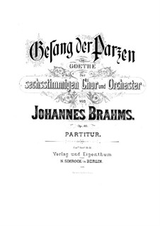 Song of the Fates, Op.89: Song of the Fates by Johannes Brahms