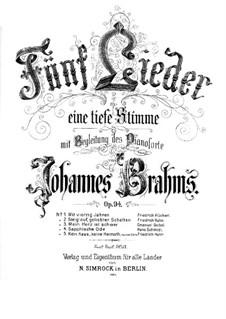 Five Songs, Op.94: Complete set by Johannes Brahms