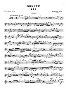 Sonata for Violin and Piano, Op.12: Sonata for Violin and Piano by Édouard Lalo