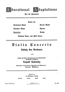 Concerto for Violin and Orchestra in D Major, Op.61: Version for piano by Ludwig van Beethoven