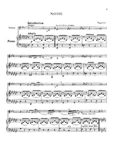 Introduction and Variations on 'Dal tuo stellato soglio' from 'Moses in Egypt' by Rossini: For violin and piano by Niccolò Paganini