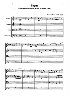 Fugue for Piano in F Major, M.27: Version for string quartet by Maurice Ravel
