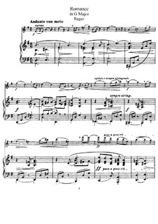 Romance for Violin (or Cello) and Piano: Score, solo part by Max Reger
