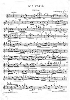 Air Varié for Violin and Piano, Op.23 No.3: Violin part by Oskar Rieding