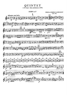 Piano Quintet in B Flat Major: French horn part by Nikolai Rimsky-Korsakov