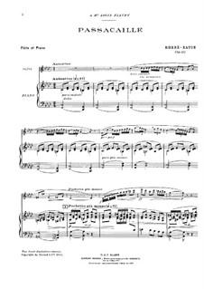 Passacaglia for Flute and Piano, Op.35: Score by Emmanuel Rhené-Baton