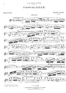 Passacaglia for Flute and Piano, Op.35: Solo part by Emmanuel Rhené-Baton
