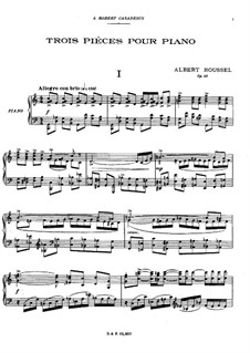 Three Pieces for Piano, Op.49: Three Pieces for Piano by Albert Roussel