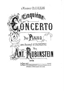 Concerto for Piano and Orchestra No.5 in E Flat Major, Op.94: Movement I. Version for piano by Anton Rubinstein