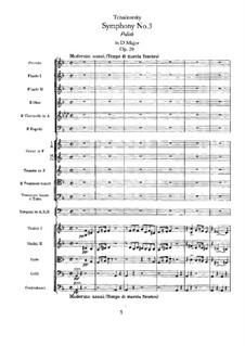 Symphony No.3 in D Major 'Polish', TH 26 Op.29: Full score by Pyotr Tchaikovsky