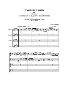Quartet Clarinets in G major, CS135: Quartet Clarinets in G major by Santino Cara