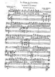 Le siège de Corinthe (The Siege of Corinth): Act I. Aria 'La gloire et la fortune' for voice and piano by Gioacchino Rossini