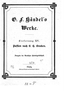 Brockes Passion, HWV 48: Full score by Georg Friedrich Händel
