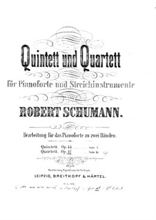 Piano Quartet in E Flat Major, Op.47: Version for piano by Robert Schumann