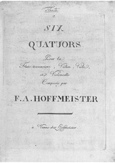 Two Quartets for Flute and Strings in F Major and D Major: Two Quartets for Flute and Strings in F Major and D Major by Franz Anton Hoffmeister
