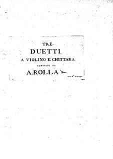 Three Duos for Violin and Guitar: Violin part by Alessandro Rolla