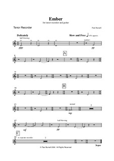 Ember Kindle, for Soprano/Tenor Recorder and Guitar: Parts by Paul Burnell
