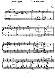 Two Mazurkas, Op.15: For piano by Anatoly Lyadov