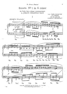 Sonata for Violin No.1 in G Minor, BWV 1001: Movement I. Arrangement for piano by Johann Sebastian Bach