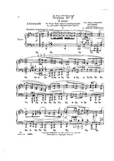 Partita for Violin No.1 in B Minor, BWV 1002: Movement I. Arrangement for piano by Johann Sebastian Bach