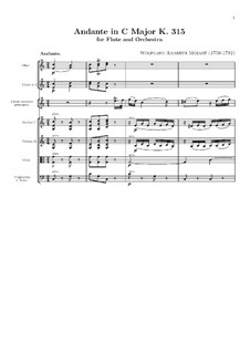 Andante for Flute and Orchestra in C Major, K.315: Full score, parts by Wolfgang Amadeus Mozart
